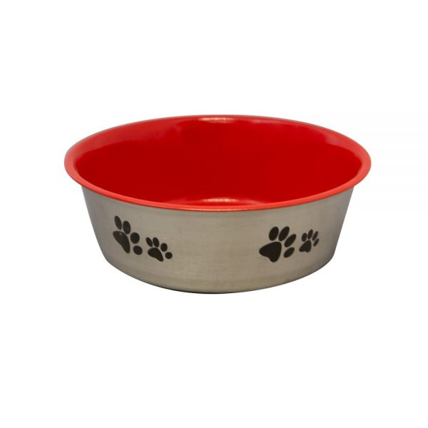 Bowl Inside red w paws